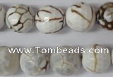 CAG1547 15.5 inches 14mm faceted round fire crackle agate beads