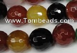 CAG1548 15.5 inches 14mm faceted round fire crackle agate beads