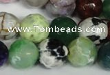 CAG1550 15.5 inches 14mm faceted round fire crackle agate beads