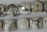 CAG1555 15.5 inches 16mm faceted round fire crackle agate beads