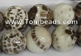 CAG1558 15.5 inches 16mm faceted round fire crackle agate beads