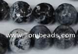 CAG1559 15.5 inches 16mm faceted round fire crackle agate beads