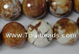 CAG1566 15.5 inches 18mm faceted round fire crackle agate beads