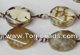 CAG1575 15.5 inches 15*20mm twisted oval fire crackle agate beads