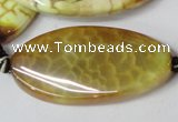CAG1579 15.5 inches 20*40mm twisted oval fire crackle agate beads