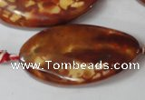CAG1591 15.5 inches 22*38mm twisted oval fire crackle agate beads