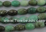 CAG1606 15.5 inches 8*10mm faceted rice green grass agate beads