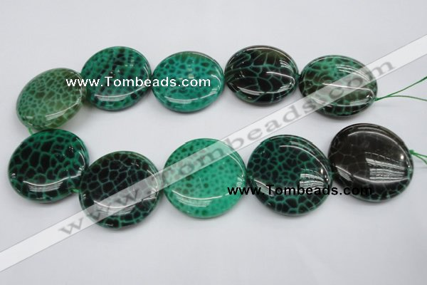 CAG1626 15.5 inches 40mm flat round peafowl agate gemstone beads