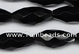 CAG1630 15.5 inches 13*30mm faceted rice black agate gemstone beads