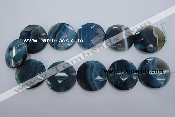 CAG1640 15.5 inches 35mm faceted coin blue agate gemstone beads