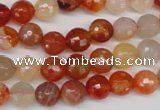CAG1656 15.5 inches 8mm faceted round red agate gemstone beads