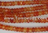 CAG1663 15.5 inches 3*6mm faceted rondelle red agate gemstone beads