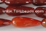 CAG1667 15.5 inches 10*30mm faceted teardrop red agate gemstone beads