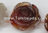 CAG1681 15.5 inches 30mm carved flower red agate gemstone beads
