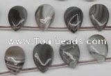 CAG1769 Top-drilled 10*14mm flat teardrop Chinese botswana agate beads