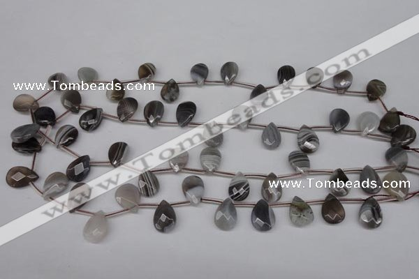 CAG1771 10*14mm faceted flat teardrop Chinese botswana agate beads
