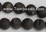 CAG1848 15.5 inches 14mm round matte druzy agate beads whholesale
