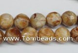 CAG1888 15.5 inches 12mm faceted round lemon crazy lace agate beads