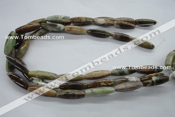 CAG1925 15.5 inches 8*30mm rice green magic agate beads wholesale