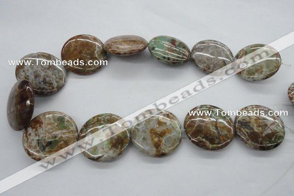 CAG1935 15.5 inches 35mm flat round green magic agate beads