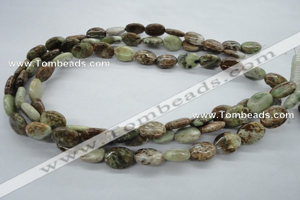 CAG1938 15.5 inches 12*16mm oval green magic agate beads