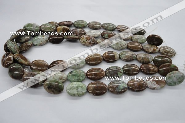CAG1939 15.5 inches 15*20mm oval green magic agate beads