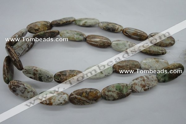 CAG1940 15.5 inches 15*30mm oval green magic agate beads