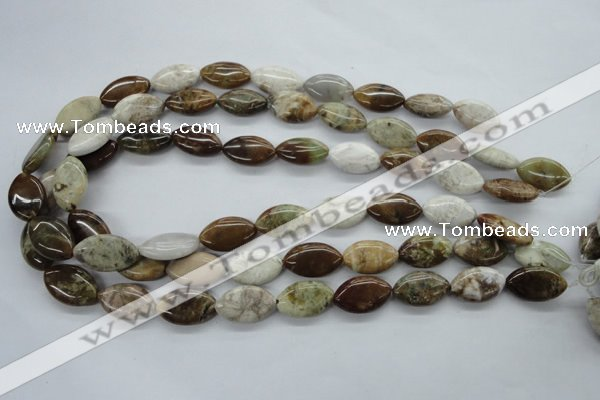 CAG1945 15.5 inches 12*20mm marquise green magic agate beads