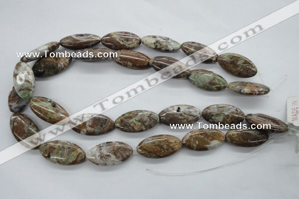 CAG1946 15.5 inches 15*30mm marquise green magic agate beads