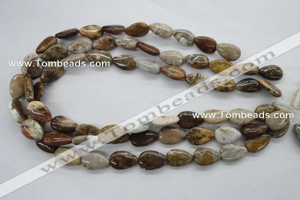 CAG1954 15.5 inches 13*18mm flat teardrop green magic agate beads