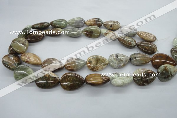 CAG1956 15.5 inches 18*25mm flat teardrop green magic agate beads