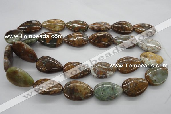 CAG1957 15.5 inches 20*30mm flat teardrop green magic agate beads