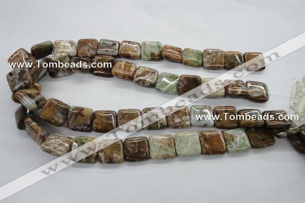 CAG1963 15.5 inches 16*16mm square green magic agate beads