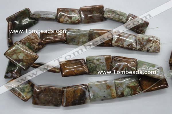 CAG1982 15.5 inches 22*30mm rectangle green magic agate beads