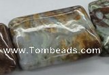 CAG1983 15.5 inches 25*35mm rectangle green magic agate beads