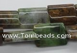 CAG1988 15.5 inches 15*20mm flat tube green magic agate beads
