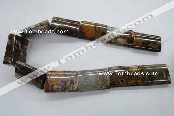 CAG1991 15.5 inches 25*35mm flat tube green magic agate beads