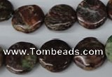CAG2014 15.5 inches 16mm flat round rainbow agate beads wholesale