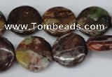 CAG2015 15.5 inches 18mm flat round rainbow agate beads wholesale