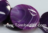 CAG204 15.5 inches 40mm faceted coin purple agate gemstone beads