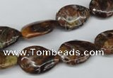 CAG2040 15.5 inches 13*18mm flat teardrop rainbow agate beads wholesale