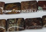 CAG2061 15.5 inches 15*20mm rectangle rainbow agate beads wholesale