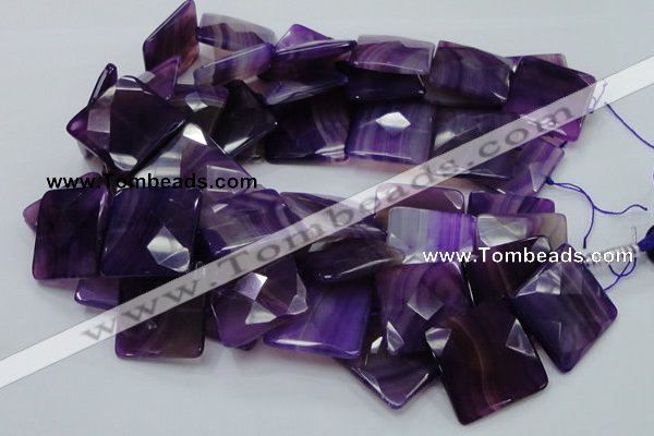 CAG207 15.5 inches 30*30mm faceted square purple agate beads