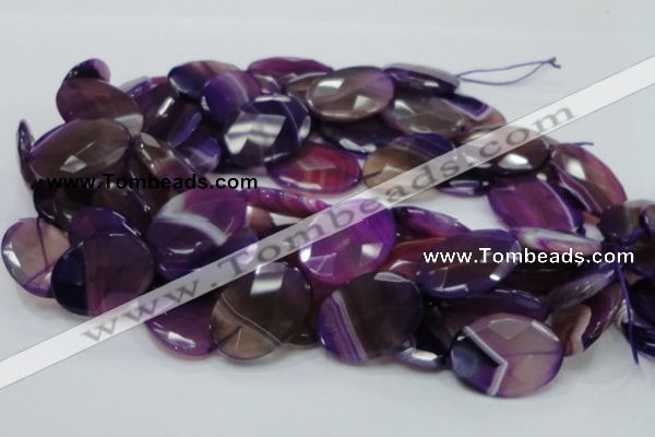 CAG209 15.5 inches 22*30mm faceted oval purple agate gemstone beads