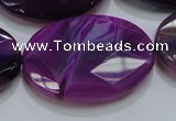 CAG210 15.5 inches 25*35mm faceted oval purple agate gemstone beads