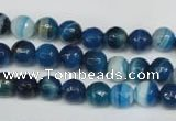 CAG2103 15.5 inches 6mm faceted round blue line agate beads