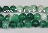 CAG2113 15.5 inches 8mm faceted round green line agate beads