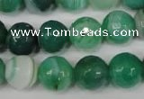 CAG2116 15.5 inches 14mm faceted round green line agate beads