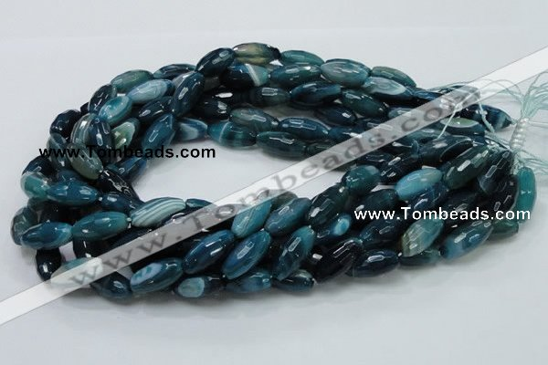 CAG218 15.5 inches 10*20mm faceted rice blue agate gemstone beads