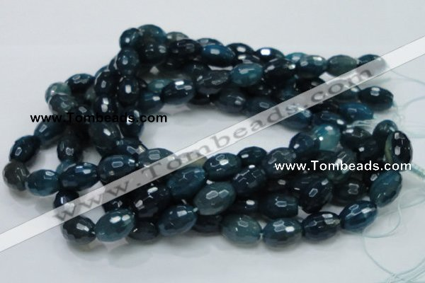 CAG219 15.5 inches 13*18mm faceted rice blue agate gemstone beads